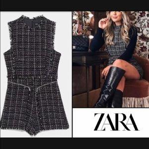NWT Zara Tweed Fringe Romper Boho XS